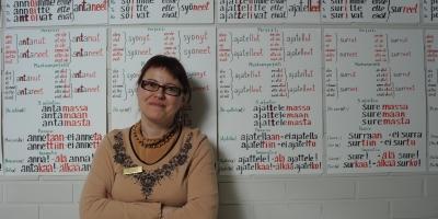 Opettaja seisoo seinällä olevien kielioppisääntöjen edessä.